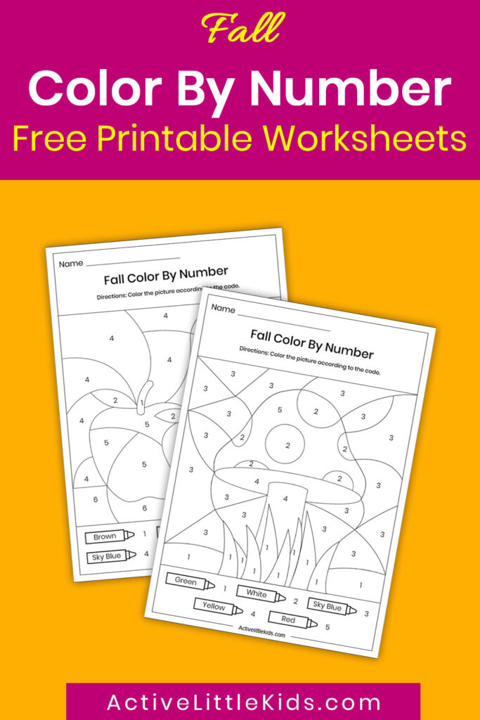 Fall color by number worksheets pin