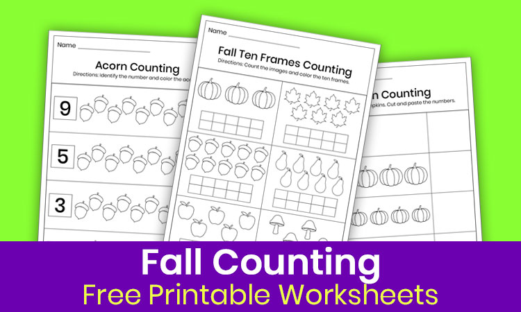Fall counting worksheets for kindergarten