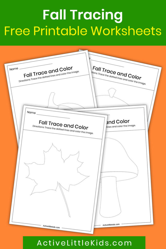 Fall tracing worksheets for kindergarten pin