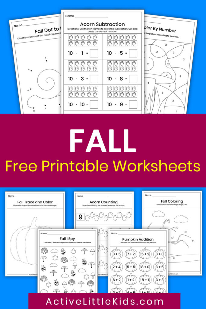 Free printable worksheets for fall pin