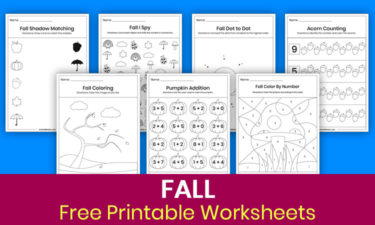 Free printable worksheets for fall