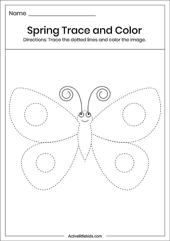 Spring butterfly trace and color worksheet
