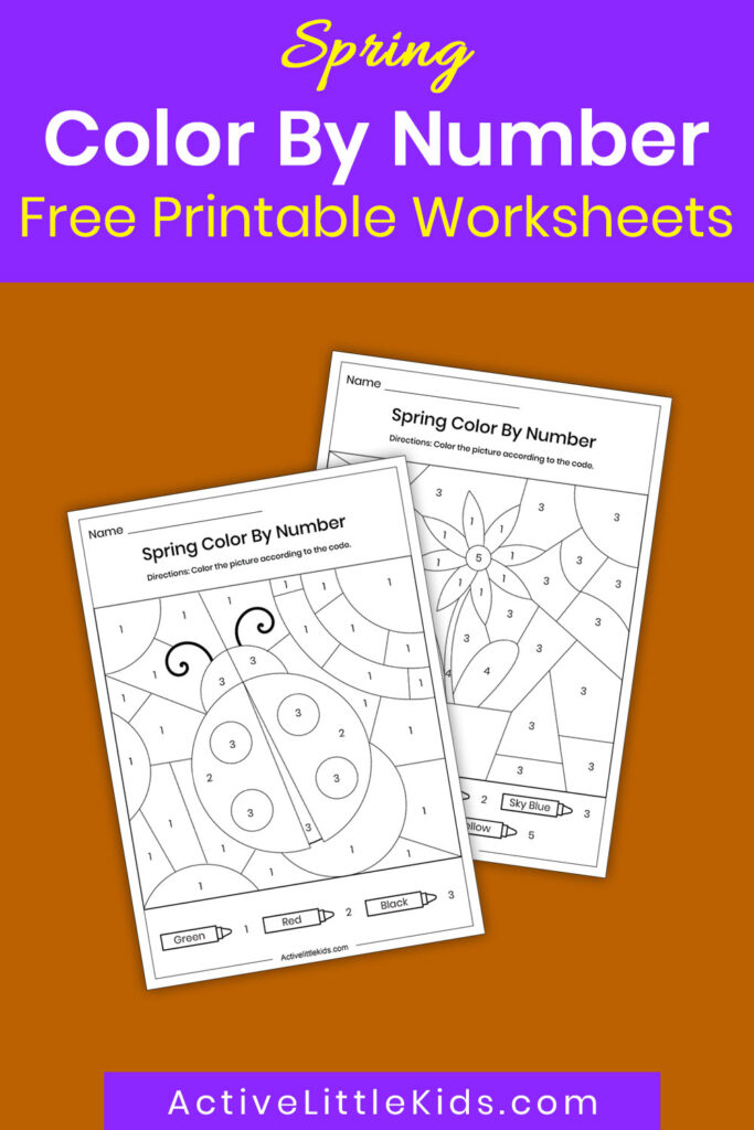 Spring color by number worksheets pin