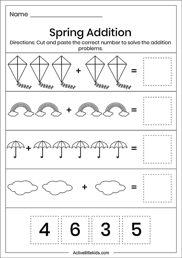 Spring cut and paste addition worksheets