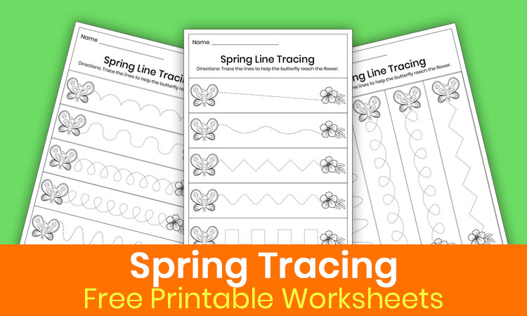Free spring tracing lines worksheets