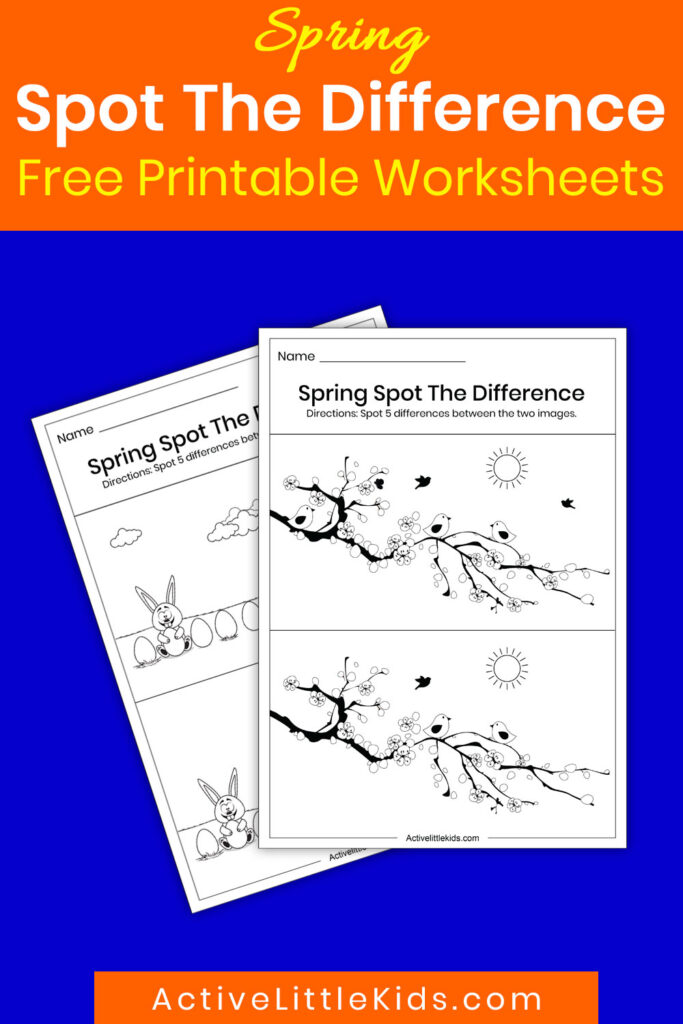 Spring spot the difference printable pin