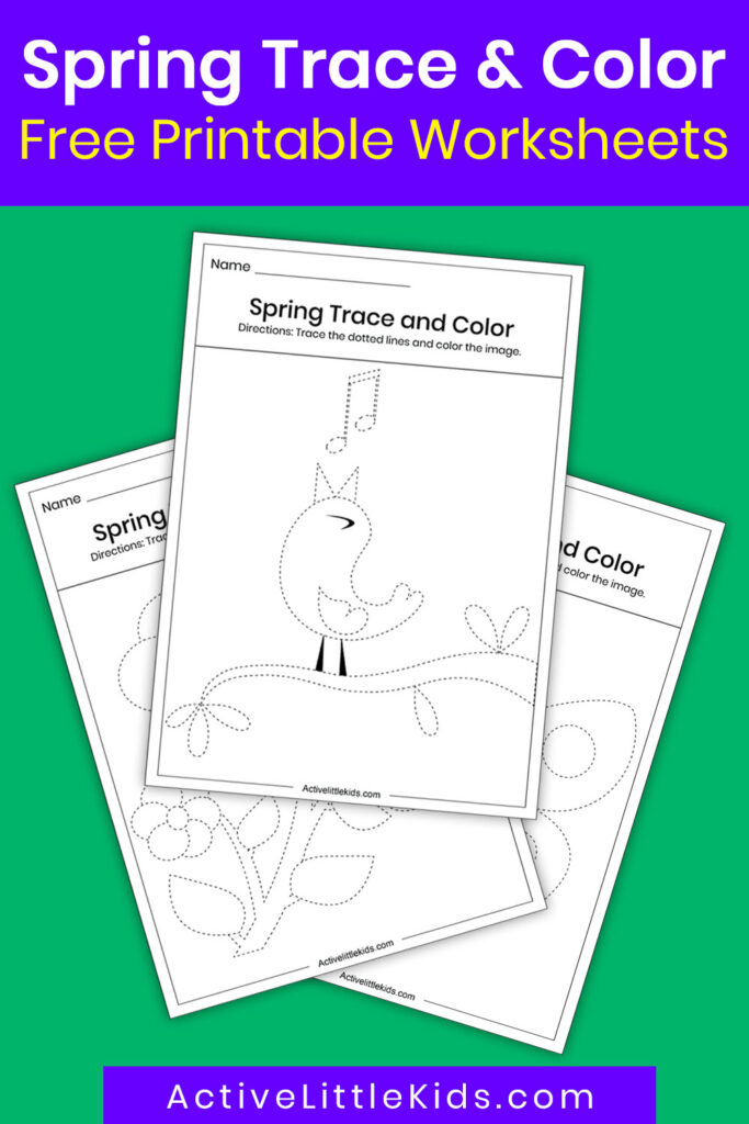 Spring trace and color worksheets pin