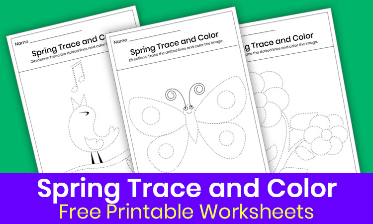 Spring trace and color worksheets