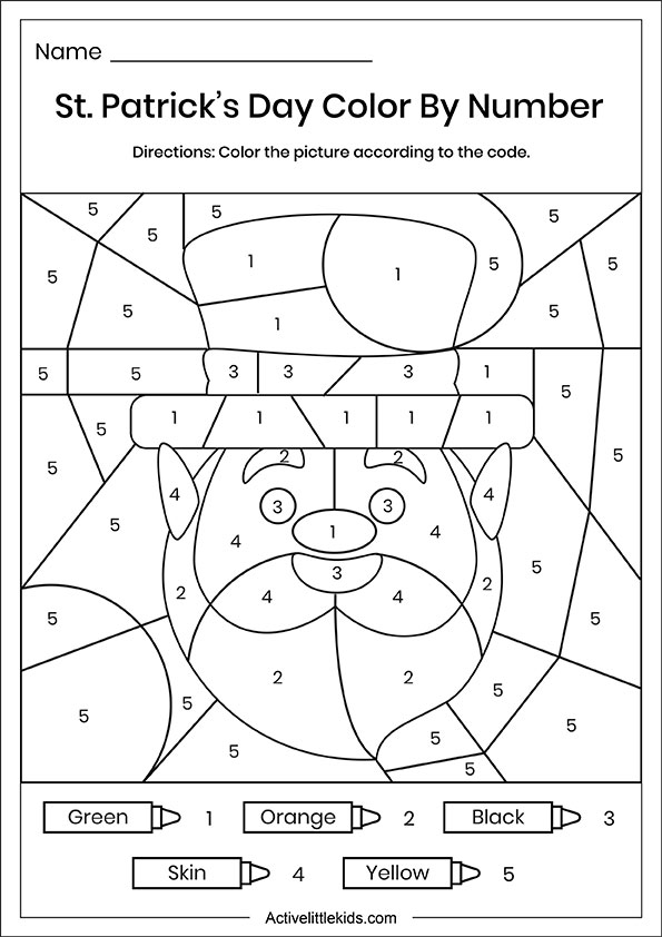 St Patrick's day color by number worksheet