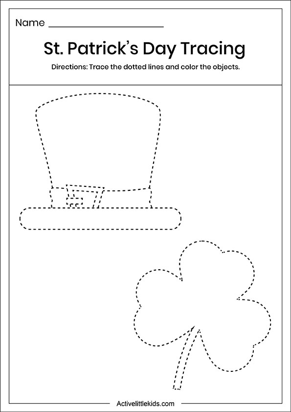 St Patrick's day tracing worksheet