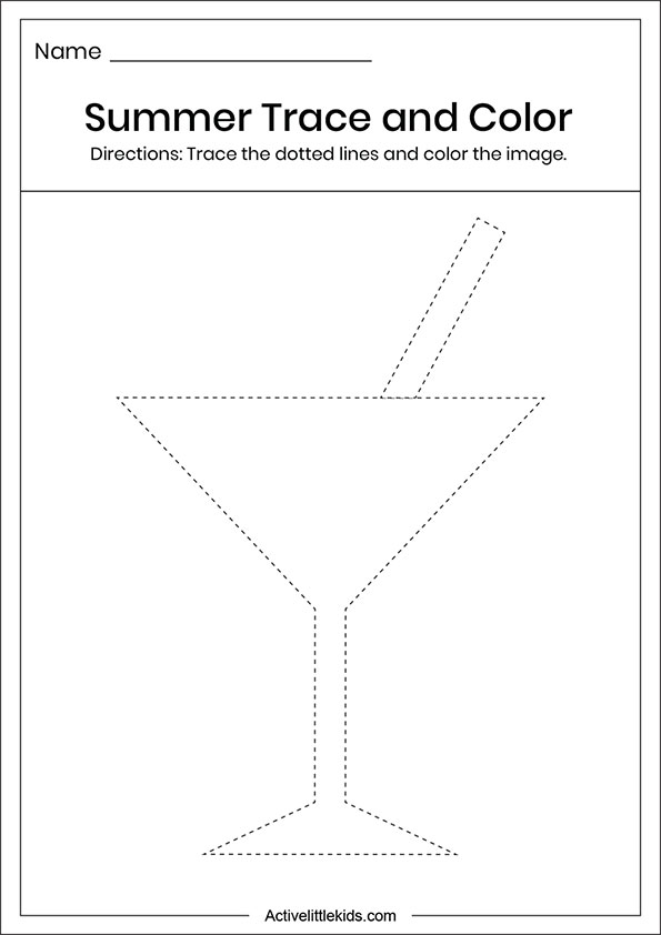 Summer glass trace and color worksheets