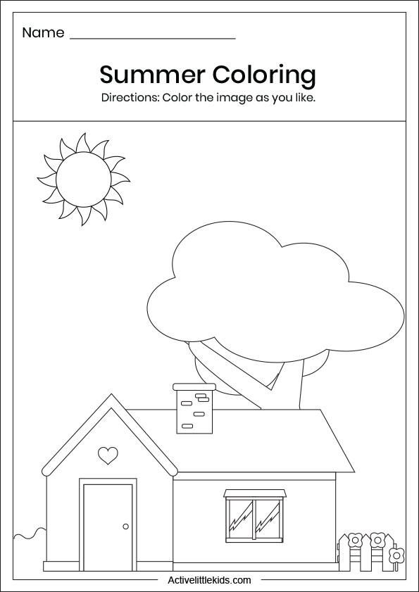 Summer house coloring worksheets