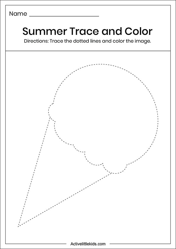 Summer ice cream trace and color worksheets