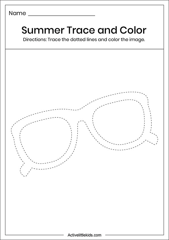 Summer sunglass trace and color worksheets