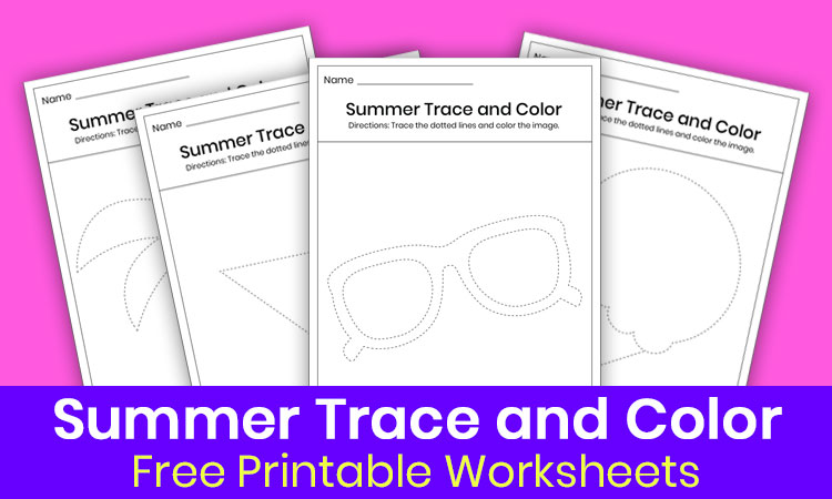 Summer trace and color worksheets