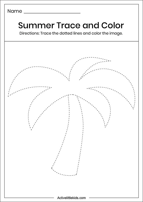 Summer tree trace and color worksheets