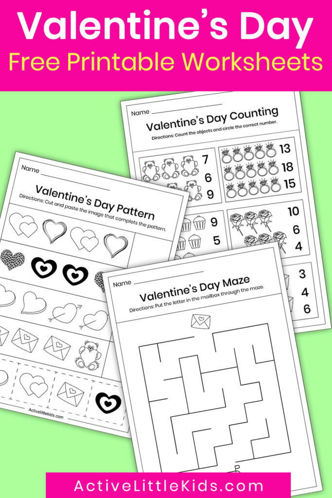 Valentines day worksheets pin