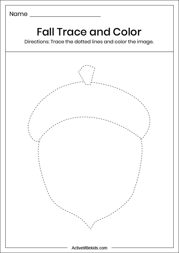 fall acorn trace and color worksheet