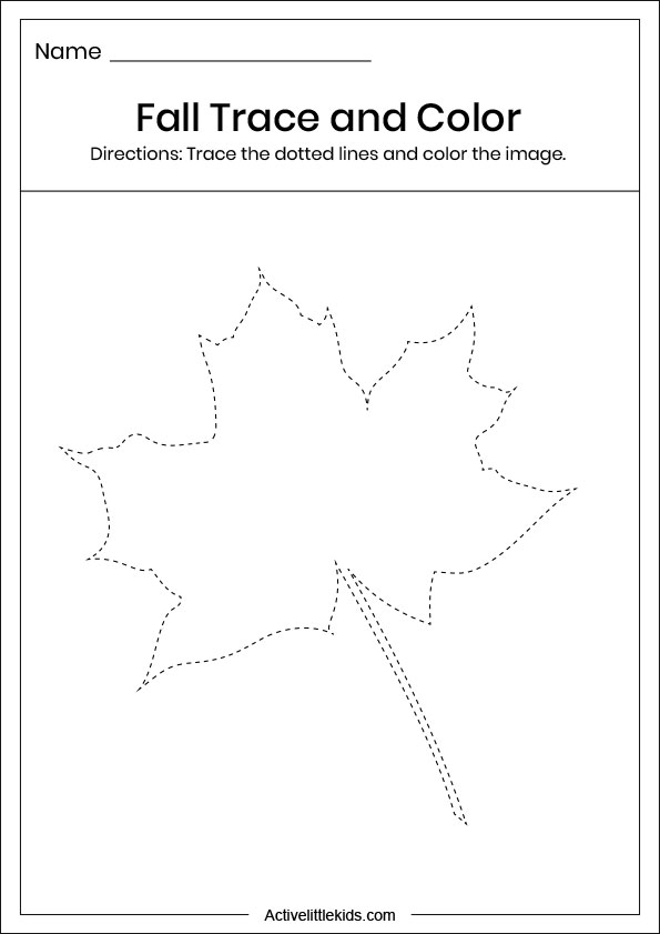 fall leaf trace and color worksheet