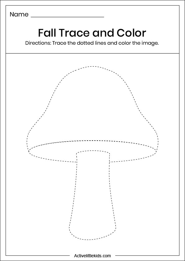fall mushroom trace and color worksheet