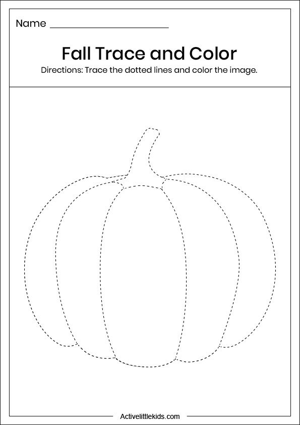 fall pumpkin trace and color worksheet