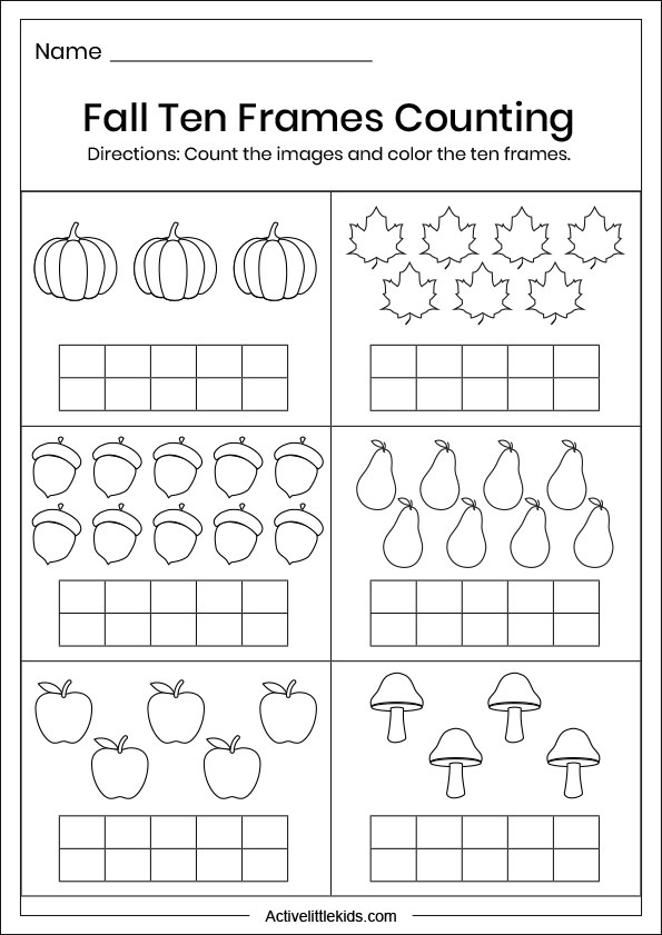 fall ten frames counting worksheets