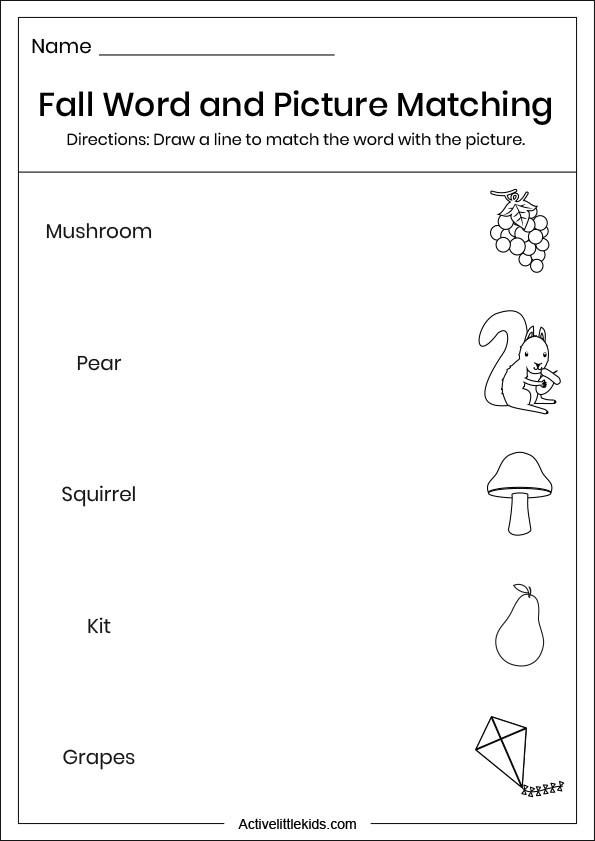 fall word picture matching worksheets