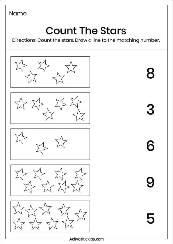 star number matching worksheets